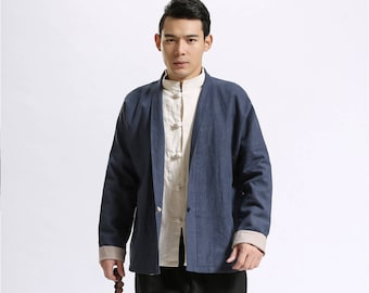 "Men Linen Jacket – ""Both Sides Wear"" Chinese Style Linen and Cotton Men's Jacket"