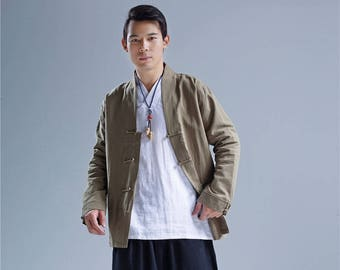 Men Linen Jacket – Retro Chinese Style Loose Causal Linen and Cotton Men's Jacket