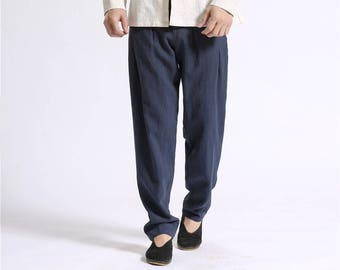 Men Cotton and Linen Casual pants – Pure Color Cotton and Linen High Waist Men Pants