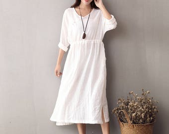 Women cotton and linen dress – Spring Cotton & Linen V-neck Long-sleeved Loose Dress