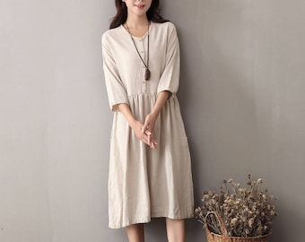 b0ecdc62bf5 Women cotton and linen dress – Spring Cotton   Linen Round-neck  Long-sleeved Loose Dress