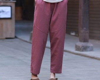 52e2390b48 Women Linen and Cotton Casual Straight Cropped Pants – Water-washed Linen  and Cotton Pants