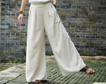 fddeb88f8e Women Linen and Cotton Lantern Palazzo Pants – Yoga Palazzo Style Women  Linen and Cotton Wide Leg Trousers