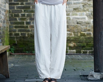 27255056ee Women Water-washed Linen Lantern Pants – Original Retro Style Women Linen  Lantern Trousers