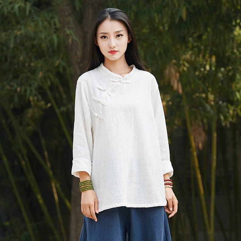 eea5d10aab Linen and Cotton Retro Chinese Style Blouses Pure Color