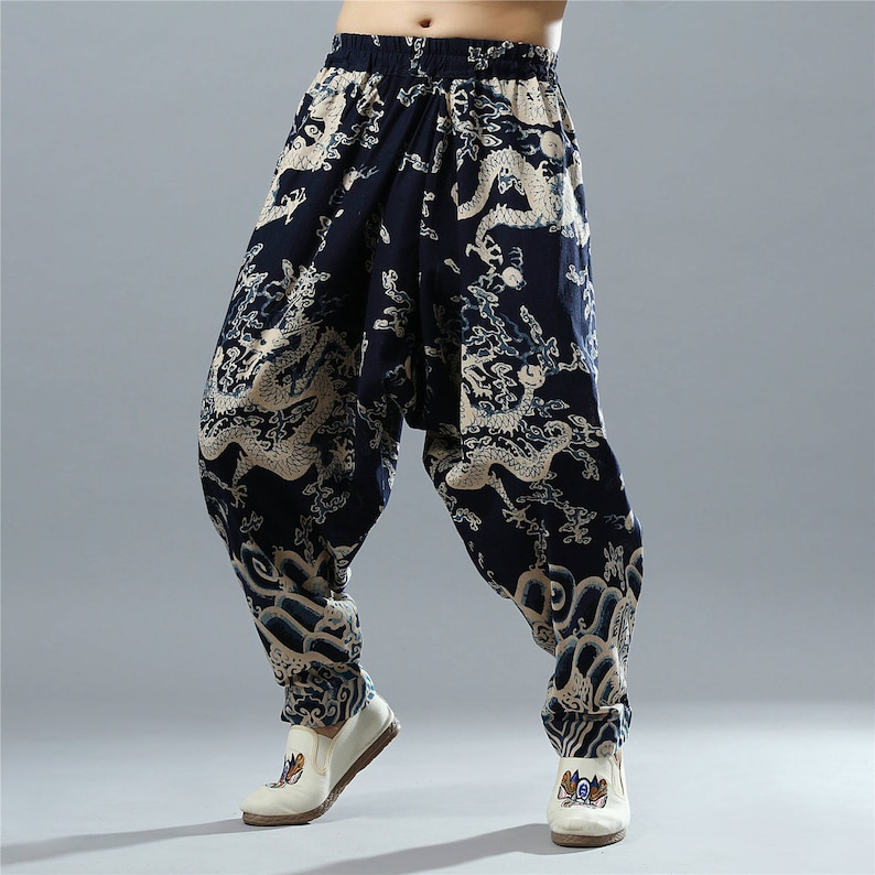 Men Autumn & Winter Cotton and Linen Casual pants – Loose Causal Pure Color Cotton and Linen Men Hanging Crotch Cropped Pants