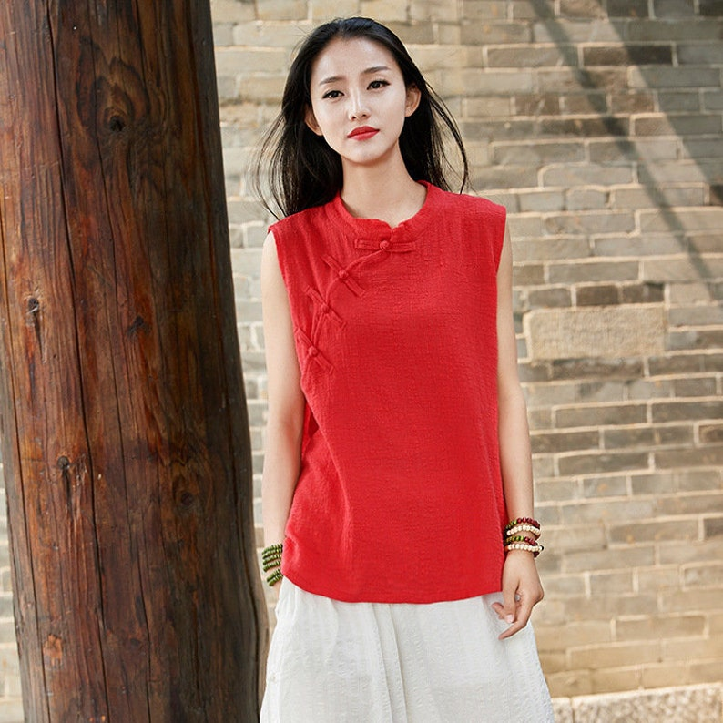 d1a346a519 2018 NEW Linen and Cotton Retro Chinese Style Sleeveless