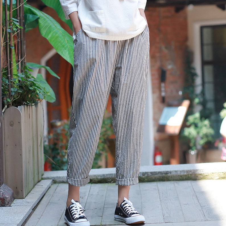7eccdf092c Women Linen and Cotton Casual Cropped Small Leg Pants Asian