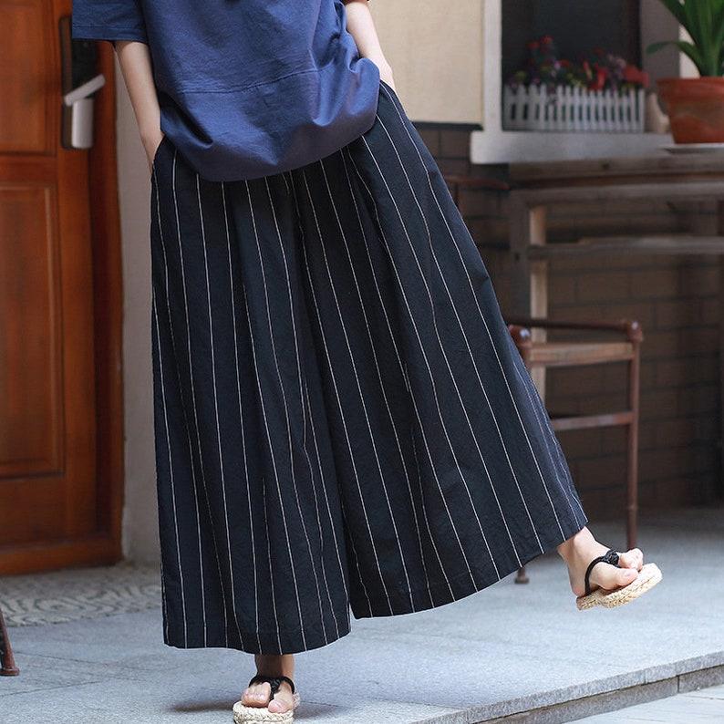 5903528cd2 Women Linen and Cotton Lantern Palazzo Cropped Pants Yoga