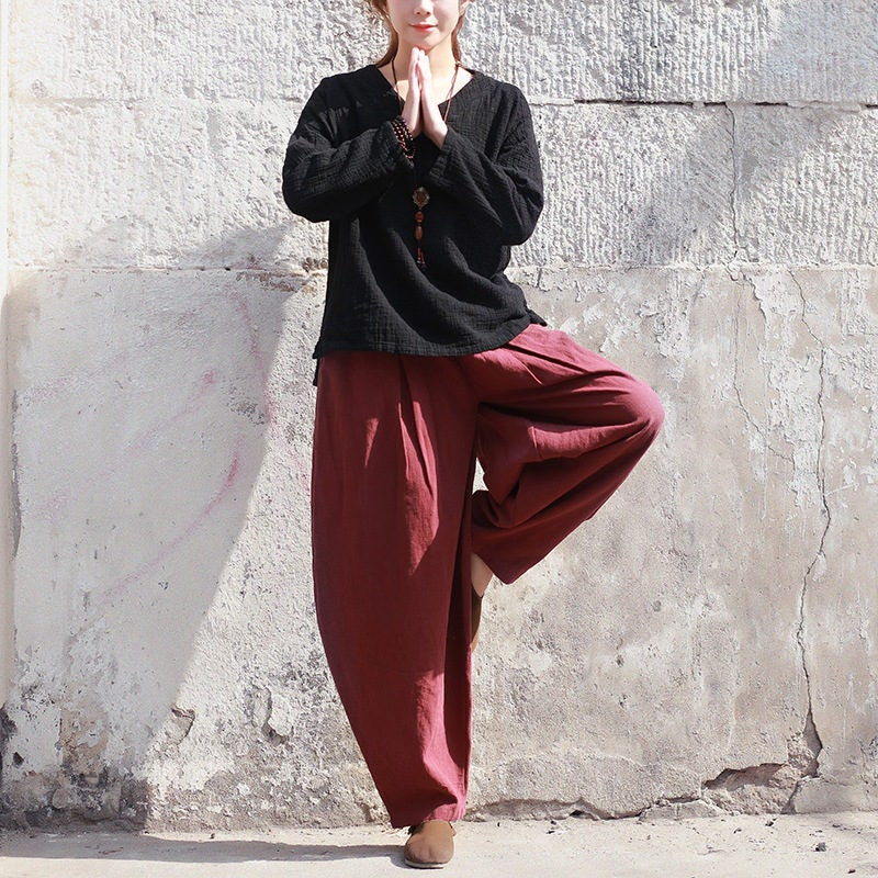 78d63b44f7 Women cotton linen yoga pants new cotton and linen womens