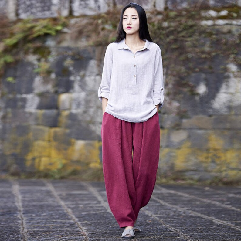 a156265932 Women cotton linen art trousers new pure ramie womens