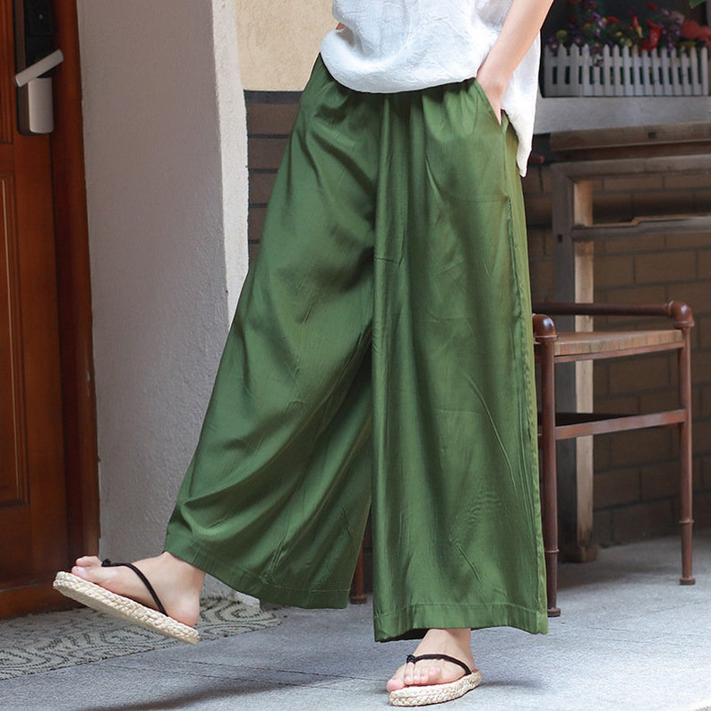 2d9fe5fe2c Women Cupro Fabric Lantern Palazzo Pants Yoga Palazzo Style