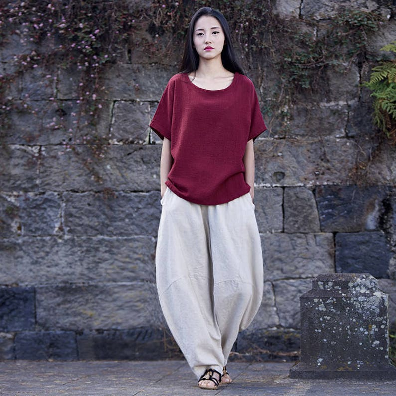 4d3505e605 Women cotton linen art trousers pure hemp ramie retro women