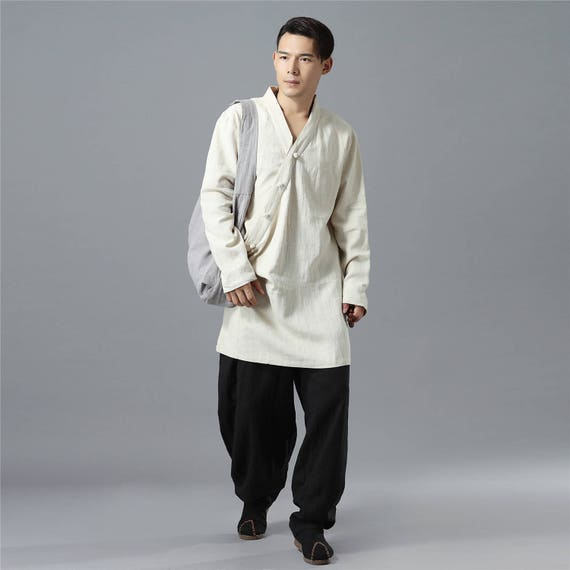 Asian Style Long-sleeved Autumn Men LInen Tunics MBqkXsCw7
