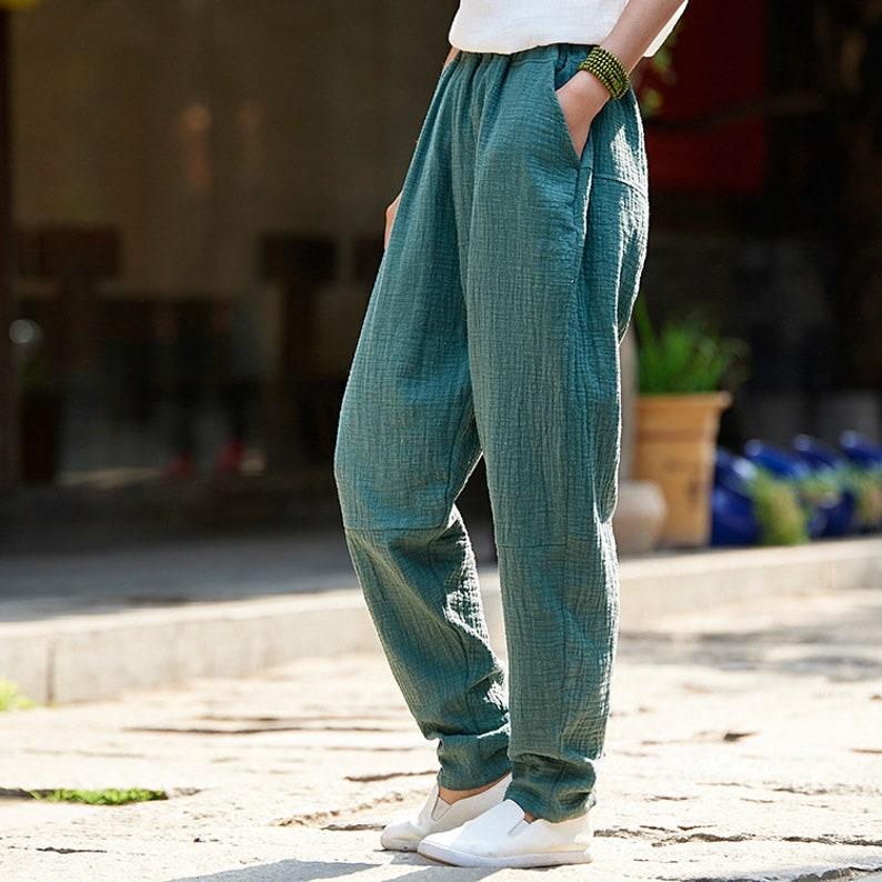 e2d936cdde Women Linen and Cotton Tapered Pants Original Casual Loose