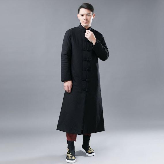 2f9841da0752 Asian Style Men Linen Long Coat Linen Kungfu Quilt Coat | Etsy
