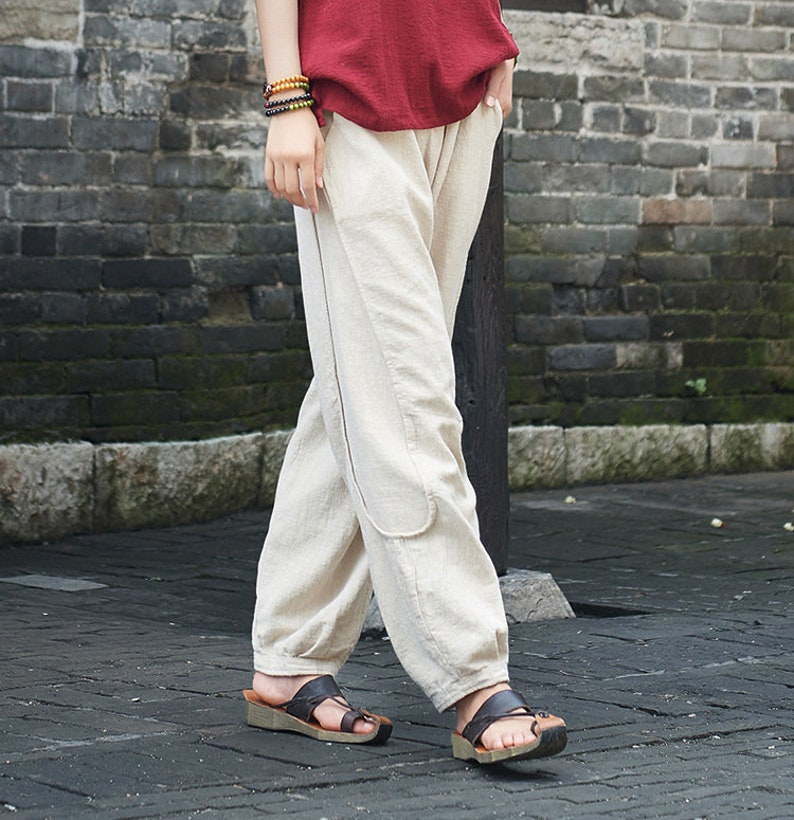 fcd09a311b 2019 NEW Women Water-washed Linen Straight Pants Original