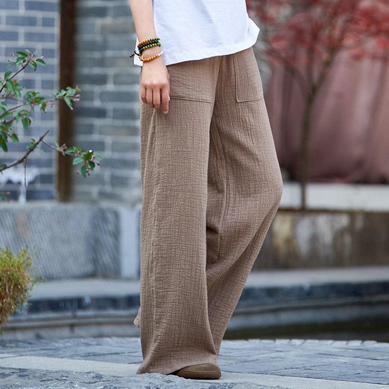 17a537e8e4 Women Linen and Cotton Straight Wide Leg Pants Original