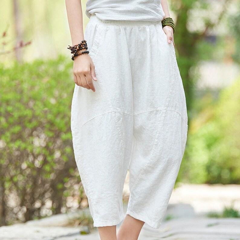 a027bac10dbb38 Women Linen Lantern Cropped Pants Original Casual Loose | Etsy