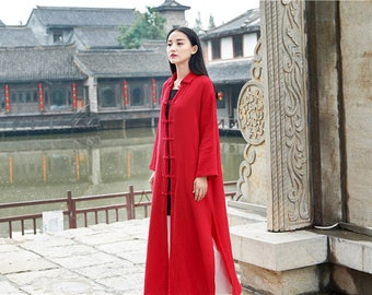 Women cotton and linen Coat – chinese style cardigan women's retro buckle collar long sleeve cotton and linen Coat