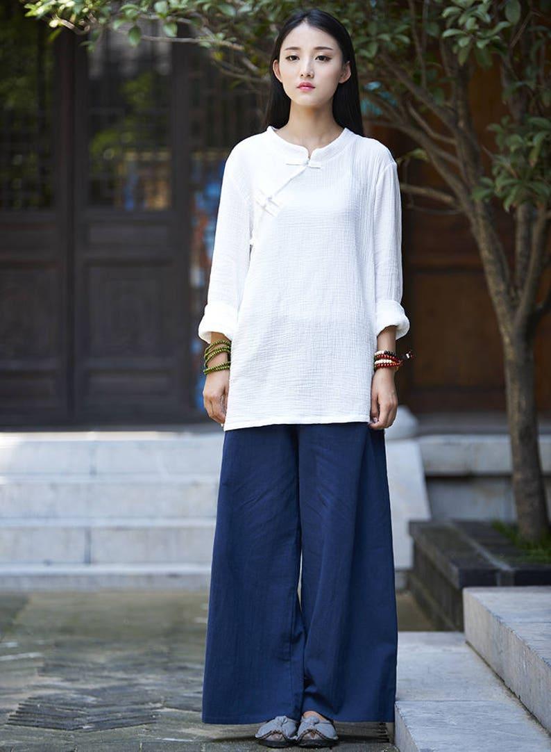 779130ad17 Women cotton linen casual wide leg pants Original Loose