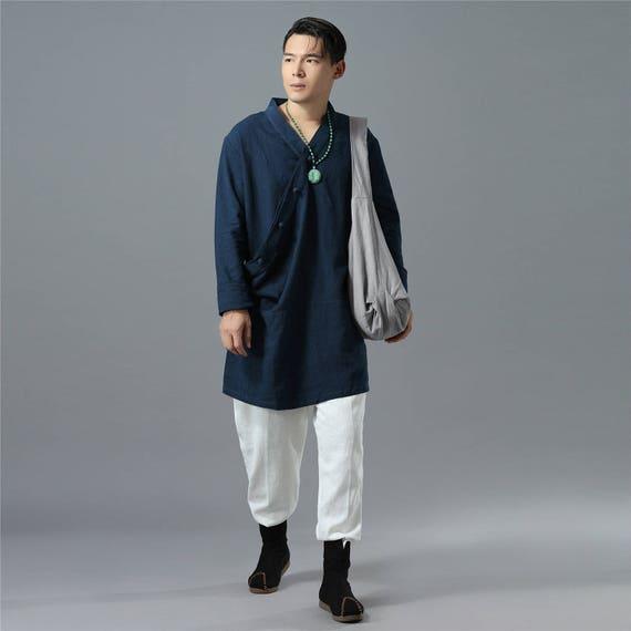 Pantalon homme Cotto et lin lin lin décontracté – causalité pur couleur coton et lin homme Kung Fu Tai Chi Hanfu Zen Jogger pantalon 7a3df2