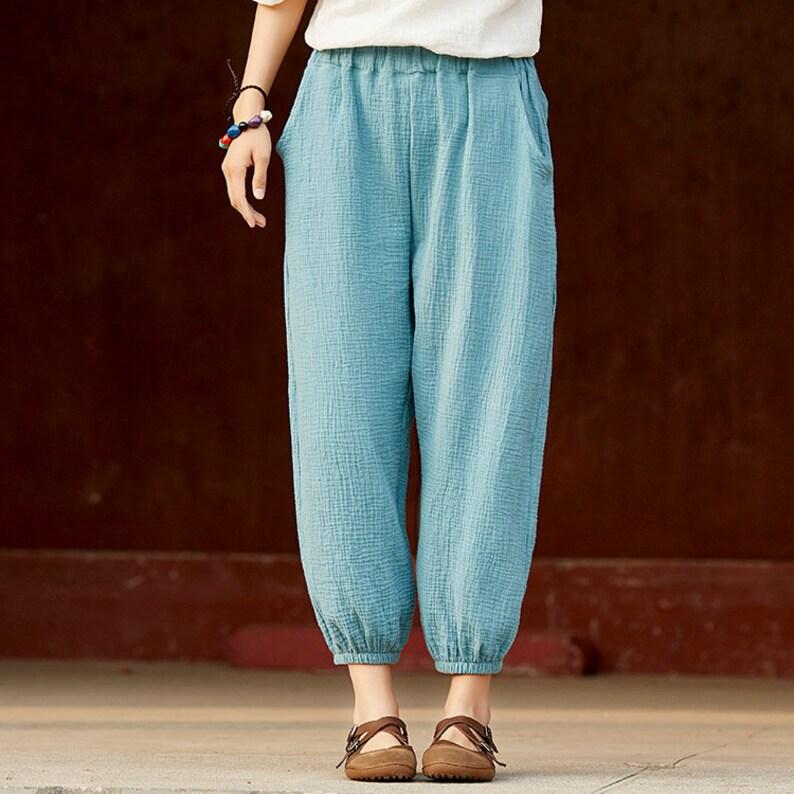 d135c4231f Women Linen and Cotton Lantern Cropped Pants Sporty Style