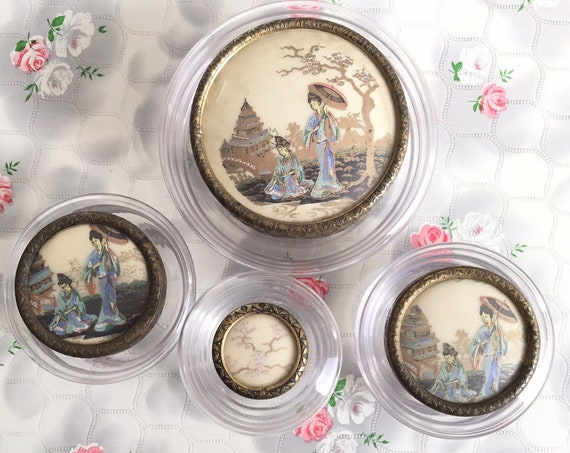 Regent of London glass trinket pots with floral lids, vanity jar with scent bottle and powder bowl, mid century dressing table set