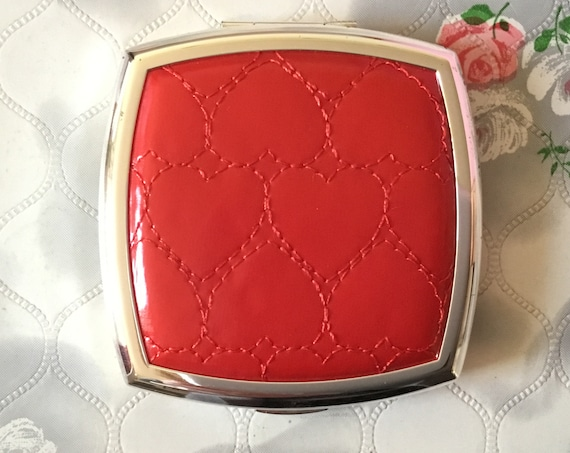 New Stratton red hearts faux leather compact mirror, c 2000 square silver tone magnifying makeup dual mirror,