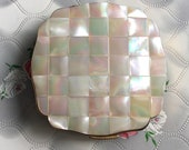 Melissa convertible powder compact with mother of pearl lid, vintage handbag MOP makeup mirror