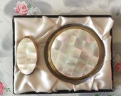 Kigu mother of pearl powder compact, adjustable lipstick holder with lip mirror and gift box, c 1960 gift for her, pearl wedding