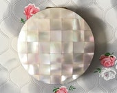 Mother of pearl Stratton convertible powder compact, c 1970s or 1980s vintage MOP makeup mirror
