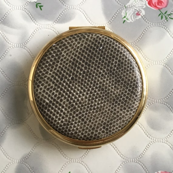 New Stratton compact mirror, with faux grey reptile leather c 2000, gold tone magnifying dual makeup mirror with snakeskin effect lid