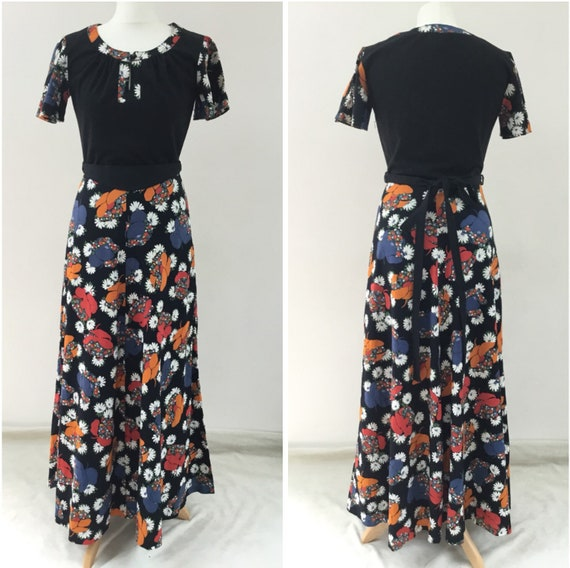 Floral print and black cotton maxi dress, uk size 10, c 1960s or 1970s vintage west Germany evening dress size 38