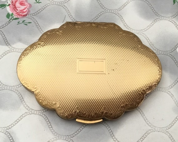 Kigu gold tone 78 series loose powder compact, c 1950s, Vintage mid century makeup mirror,