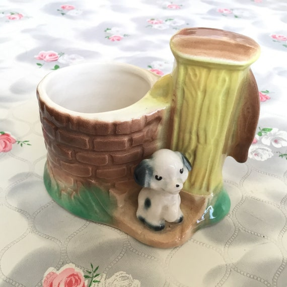 1950s Hornsea pottery planter with stone well and puppy, 1960s collectible vintage posy vase with dog and water pump