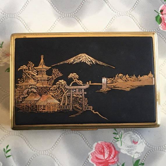 Clover musical damascene powder compact with Mount Fuji, Japanese music box and makeup mirror c 1960s, Fur Elise by Beethoven
