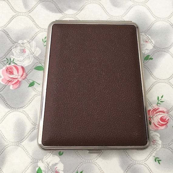 Cigarette case with faux brown leather, c 1960s or 1970s, vintage business card holder with wood grain