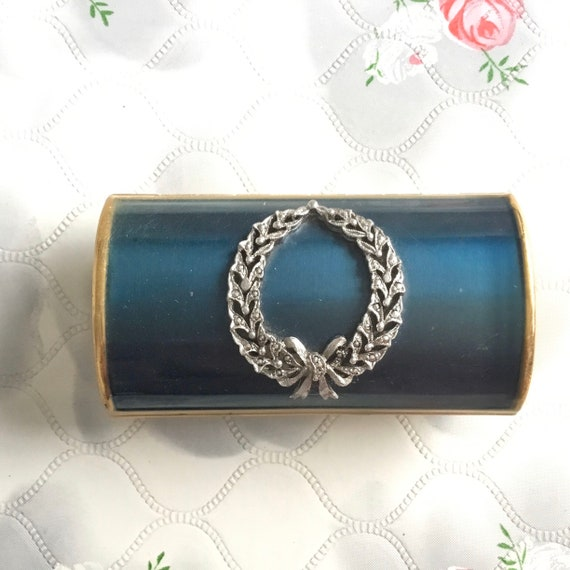 Kigu barrel cigarette case with turquoise lid and marcasites, c 1960s or 1970s vintage gold metal bolster lipstick holder,