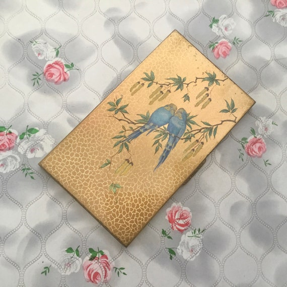Manhattan ladies vintage cigarette case with blue budgies, c 1950s or 1960s British made business card case with birds