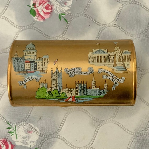 Kigu ladies barrel cigarette case, London souvenir with Houses of Parliament, Buckingham Palace, St Pauls, 1950s vintage smoking accessory