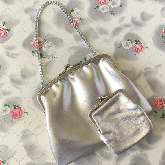 Vintage Silver metallic evening bag and coin purse, c1970s