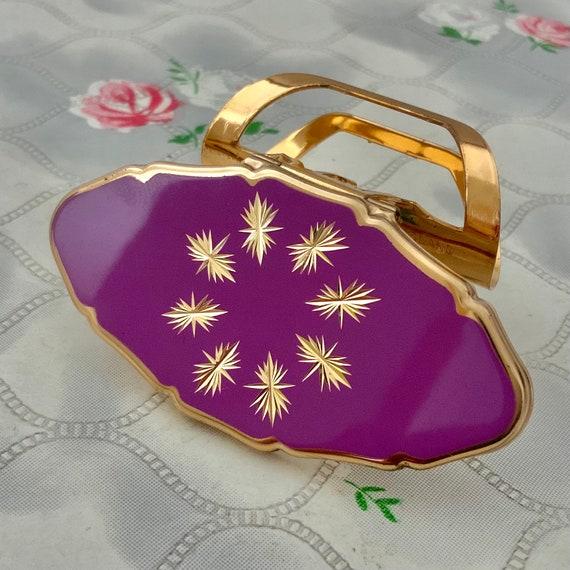 Stratton Lipview lipstick holder with pale purple lid, vintage handbag lip mirror