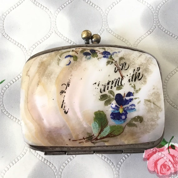 Vintage coin purse, c 1900 antique sovereign purse with hand painted blue flowers on shell, Great Yarmouth souvenir