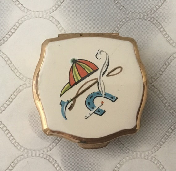 Stratton Ladies portable mini ashtray, with horseshoe, vintage 1960s or 1970s horse racing travel accessory for handbag or pocket