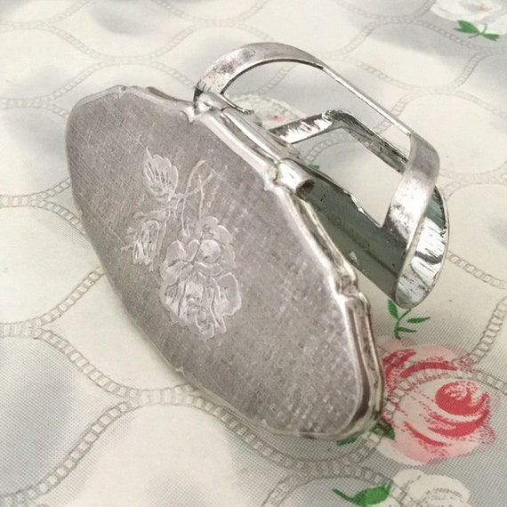 Stratton Lipview lipstick holder, c1990s silver plated compact lip mirror, with rose, vintage handbag accessory