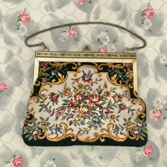 Floral tapestry bag, black and pink vintage purse c 1960s or 1970s with gold wrist chain