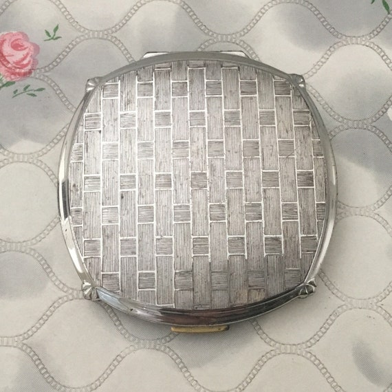 Stratton convertible cushion shaped powder compact, 1960s or 1970s vintage silver makeup mirror