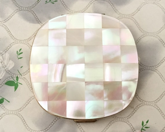 Mother of pearl vintage convertible powder compact,  MOP mid century makeup mirror