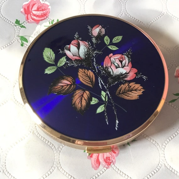 Melissa powder compact mirror, c 1970s with blue lid and pink roses, handbag makeup mirror